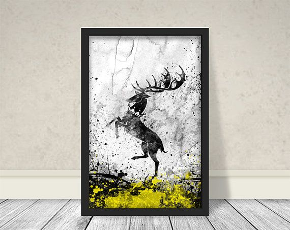 Casa Baratheon ispirato arte, acquerello Baratheon, gioco di troni Art, gioco di troni acquerello