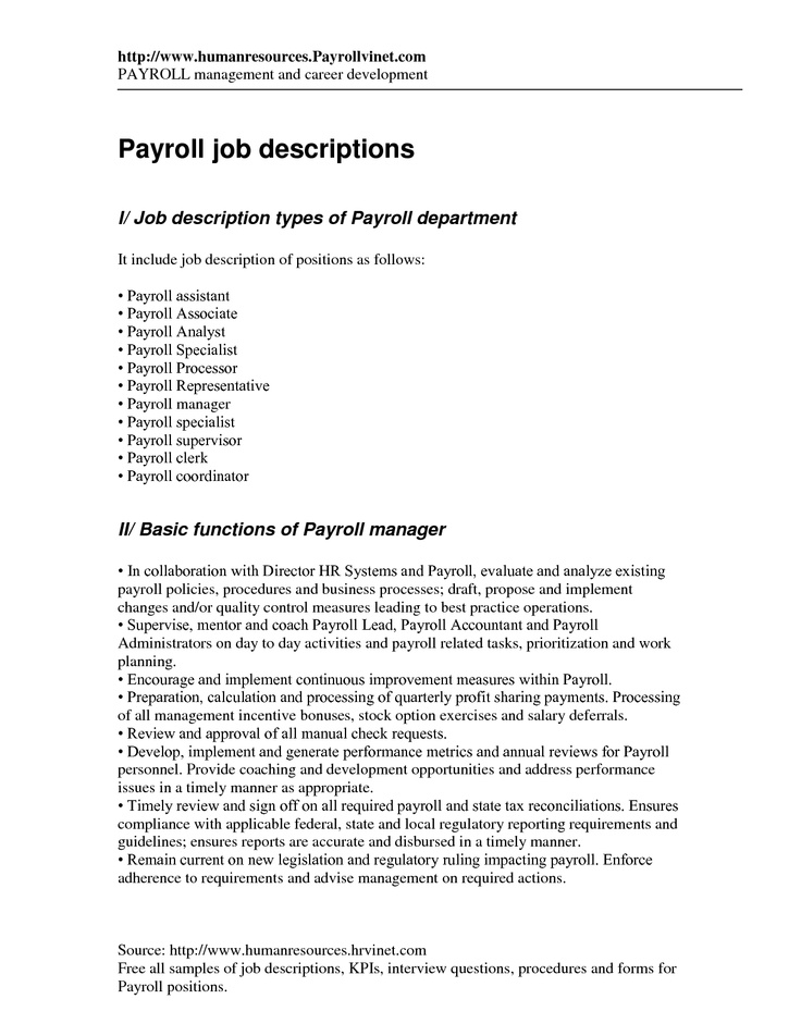 Payroll Coordinator Job Description  NodeCvresumePaasproviderCom