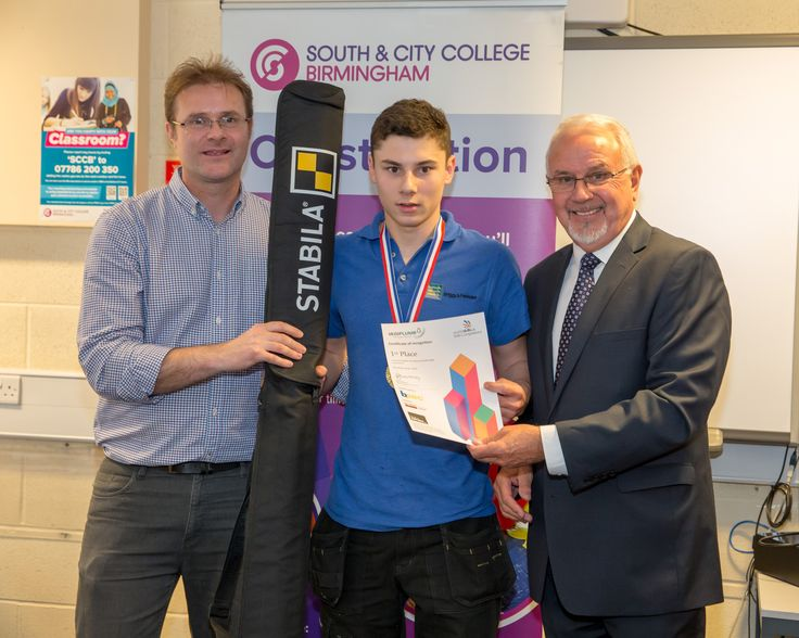 1st Place Daniel Martins with Neil Collishaw, BPEC (left) and Dave Bentley, FMB (right) - SkillPLUMB Birmingham