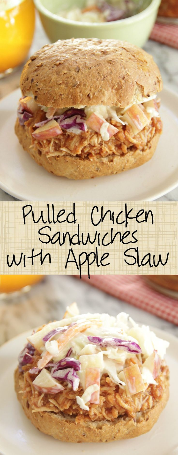 Slow Cooker Pulled Chicken Sandwiches with Apple S…