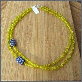 Ketting 'duo' geel/blauw