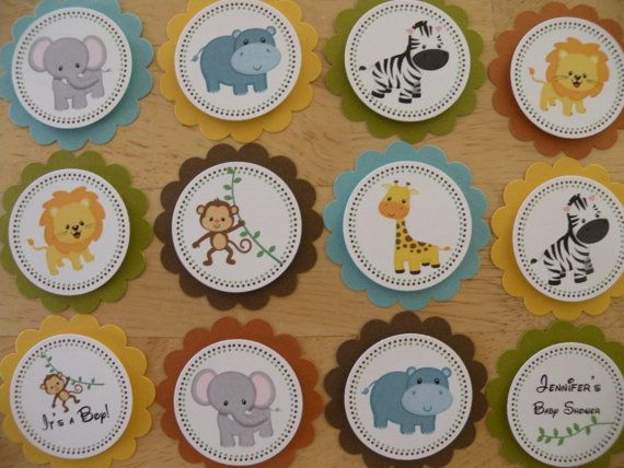 Jungle, Safari 12 Cupcake Toppers or Party Favor Tags, Birthday or Baby Shower, Handmade, 3D via Etsy
