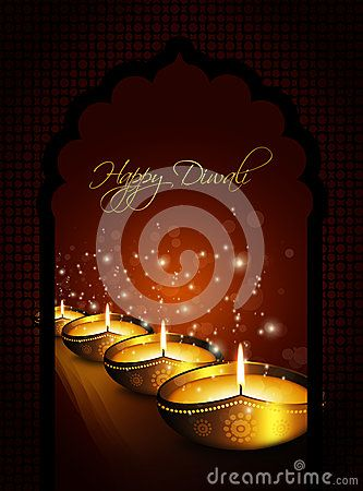 Oil lamp with diwali diya greetings dark gold background