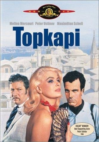 Topkapi (1964). Topkapı' (1964): Directed by Jules Dussin and starring Melina Mercouri, Peter Ustinov and Maximilian Schell, the film's plot centers on a group of thieves who devise a plan to steal the emerald-encrusted dagger of Sultan Mahmud I from the Topkapı Palace. Filmed almost entirely in Istanbul, the city plays a major role in the film.
