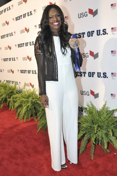 Aja Evans Photos - Aja Evans walks the red carpet during the U.S. Olympic Committee's Best of U.S. Awards at Warner Theatre on April 2, 2014 in Washington, DC. - US Olympic Committee Best of US Awards