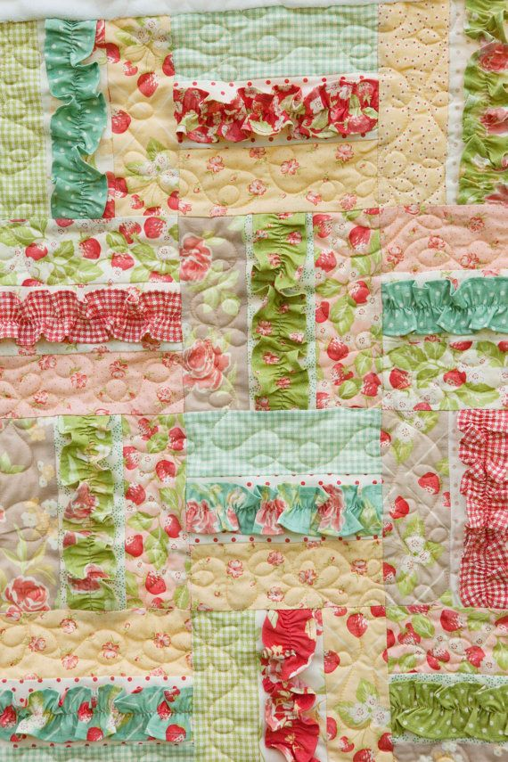 A Soft Place To Land Baby Quilt by createhopedesigns on Etsy - Love the ruffles! This would be so easy to do with a jelly roll.