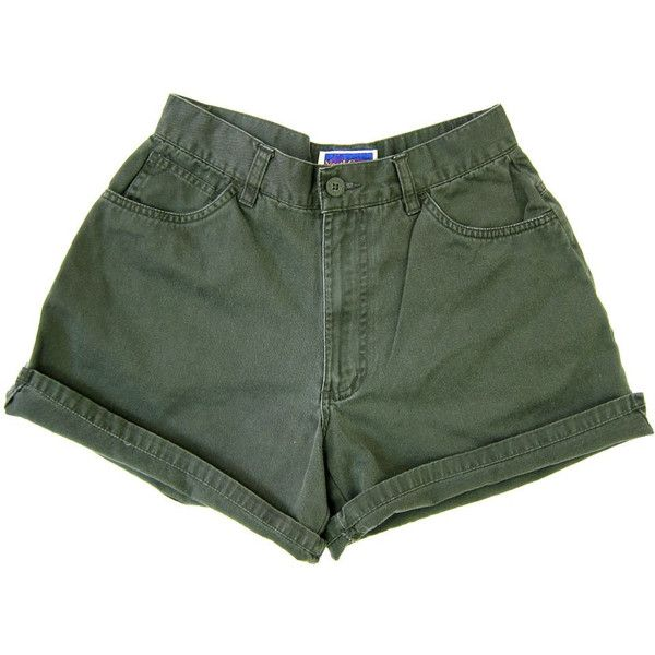 90s Army Green Shorts High Waist Camp Shorts Dark Sage Green Khaki... ($24) ❤ liked on Polyvore featuring shorts and bottoms