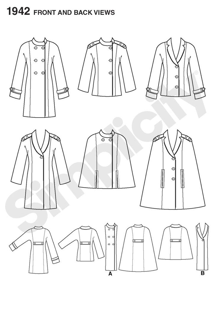 Simplicity Double Breasted Coat Or Cape With Epaulettes