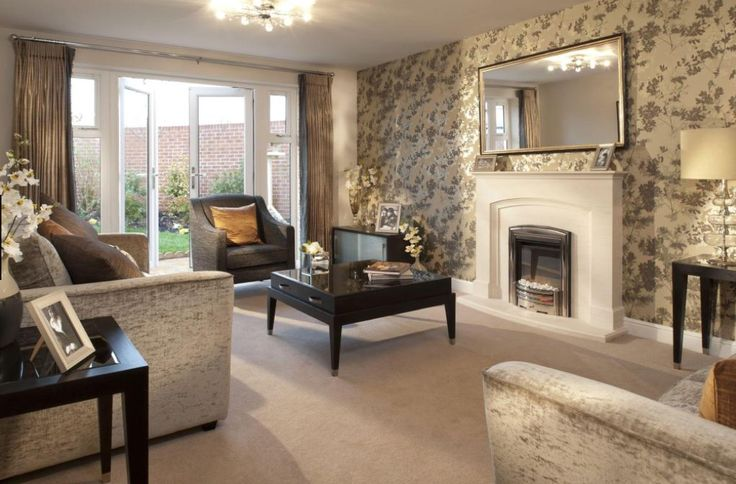 Interior Designed Living Room Using A Neutral Colour Scheme Of Taupes Minks Metallic Wallpaper Bronze Creams And Charcoal Accents Which Ground