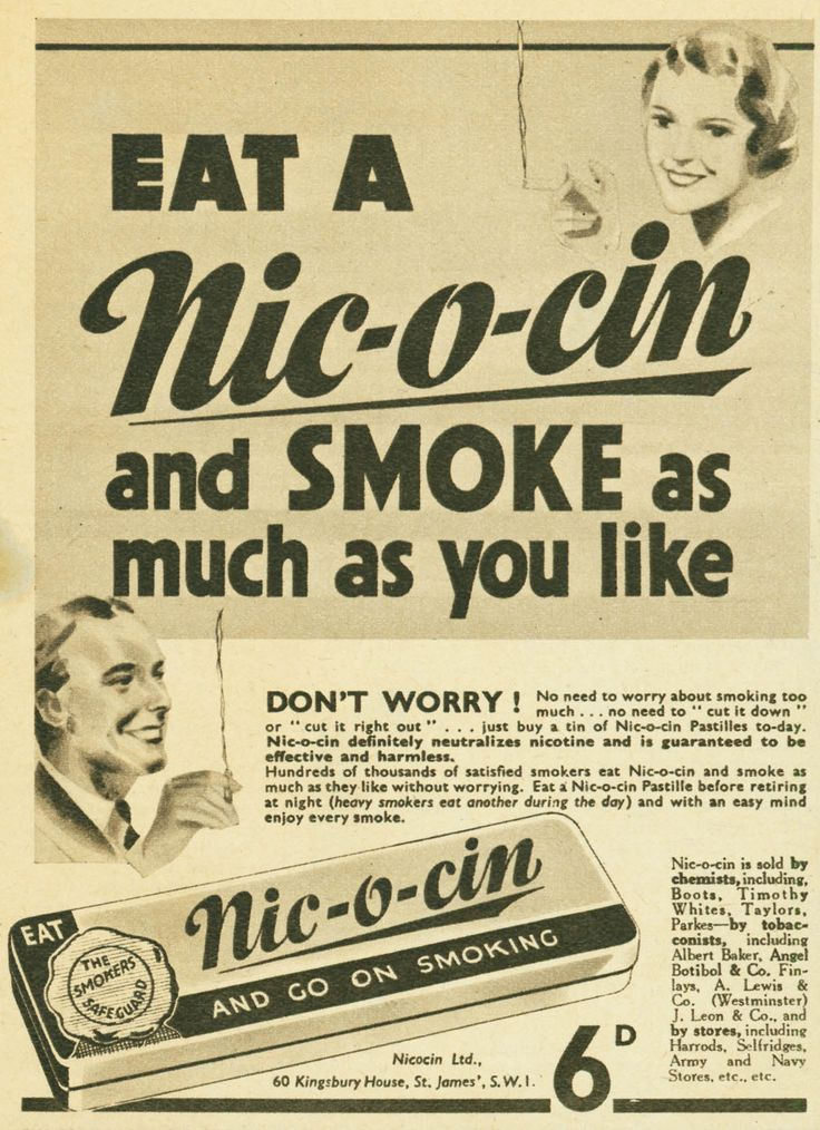 Nic-o-cin. Don't worry - Smoke as much as you like. Yikes!