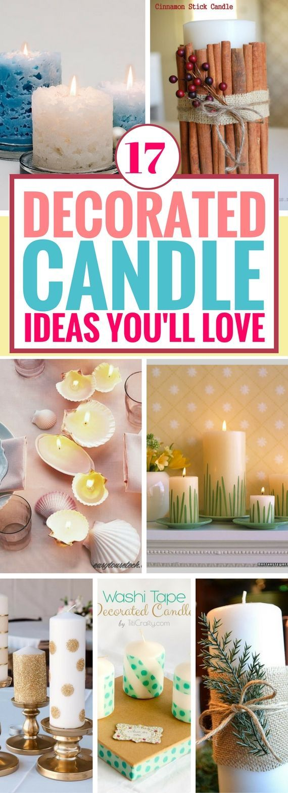 These Decorated Candle Ideas are so awesome. Fun and unique ways to decorate candles from the outside. I wish I found these diy candles way before. They make perfect gifts for someone!