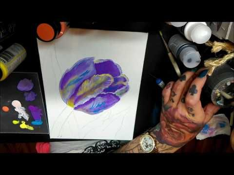 How to Paint Tulip Flower ( DecoArt Acrylics ) - YouTube