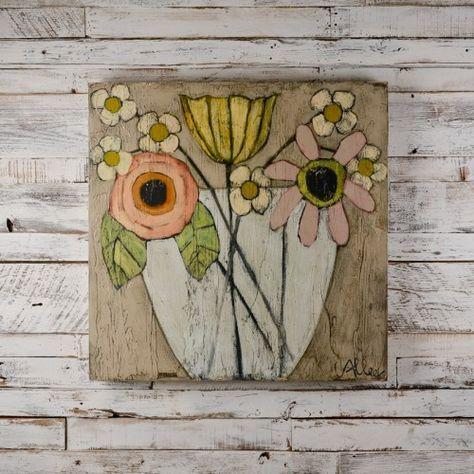 Generous Bloom Floral Painting on Wood by Cecel Allee