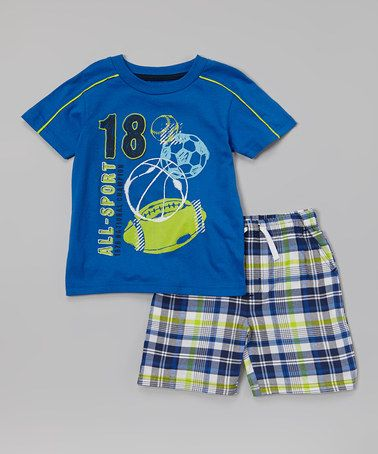 Another great find on #zulily! Blue 'All-Sport' Tee & Plaid Shorts - Infant, Toddler & Boys #zulilyfinds