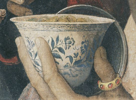Andrea Mantegna, Adoration of the Magi, detail showing Ming bowl filled with gold coins. © The J. Paul Getty Museum, Los Angeles (85.PA.417)