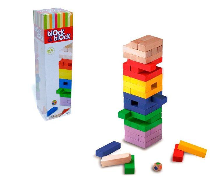 Juego de mesa block & block para niños desde los 5 años, mínimo 2 jugadores, con este juego podrán equilibrar y potenciar su destreza, evita que los bloques se caigan y no derribes la torre, puedes apilar por colores, incluye un dado.