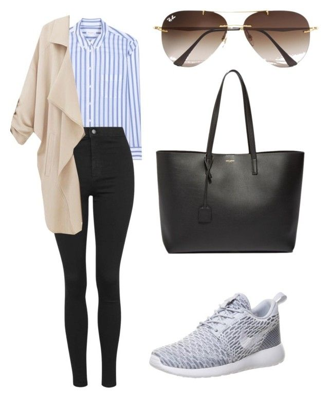 """""""Get the look: Gigi Hadid"""" by amanrose ❤ liked on Polyvore featuring Equipment, Topshop, NIKE, Ray-Ban, Yves Saint Laurent, women's clothing, women, female, woman and misses"""