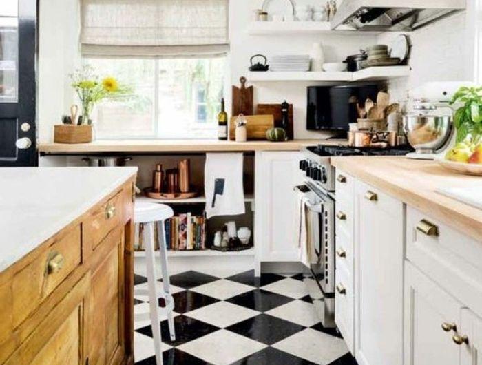 Le Carrelage Damier Noir Et Blanc En 78 Photos Cuisine Moderne Decoration De Cuisine Planchers De Cuisine