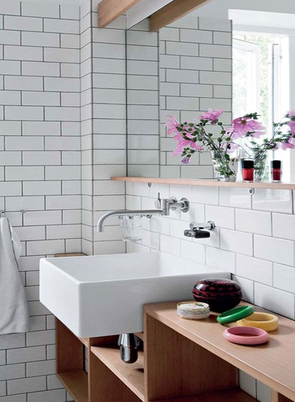 Linear White Bathroom Wall Tile