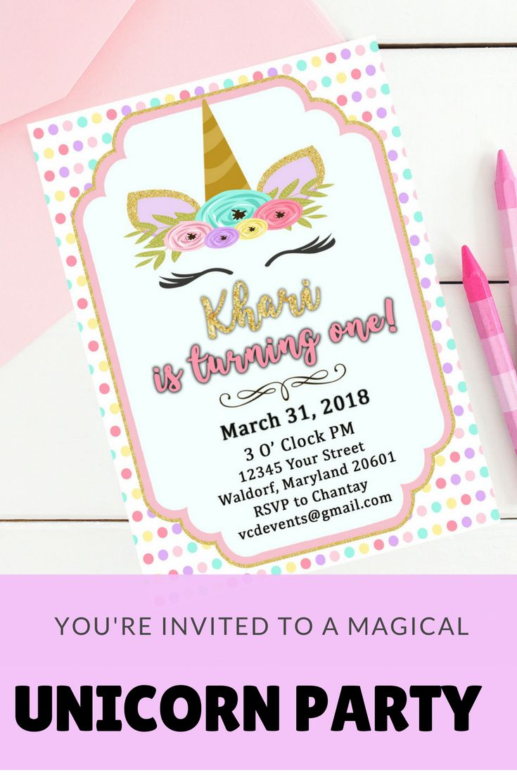 You're invited to this magical rainbow unicorn party. Find everything you need, from invitations to decorations.