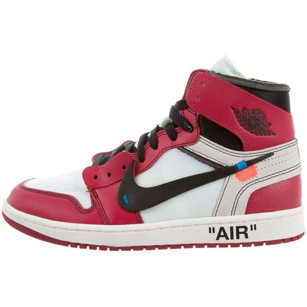 Pre-owned Off-White x Virgil Abloh x Nike: The TEN Air Jordan 1... ($2,000) ❤ liked on Polyvore featuring men's fashion, men's shoes, men's sneakers, red, mens red shoes, mens hi tops, mens red tie, mens ties and mens red high tops