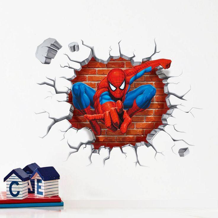 3D impression boys kids spiderman wall sticker decals film movie superman vinyl pegatinas child home house bedroom nursery decor #Affiliate