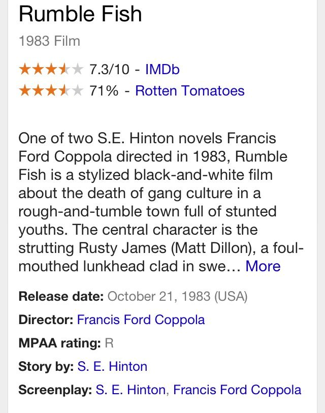 17 best images about rumble fish on pinterest the for Rumble fish summary