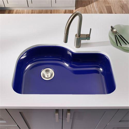 houzer pch 3700 bl porcela 31 undermount porcelain enamel steel offset single bowl kitchen - Enamel Kitchen Sink