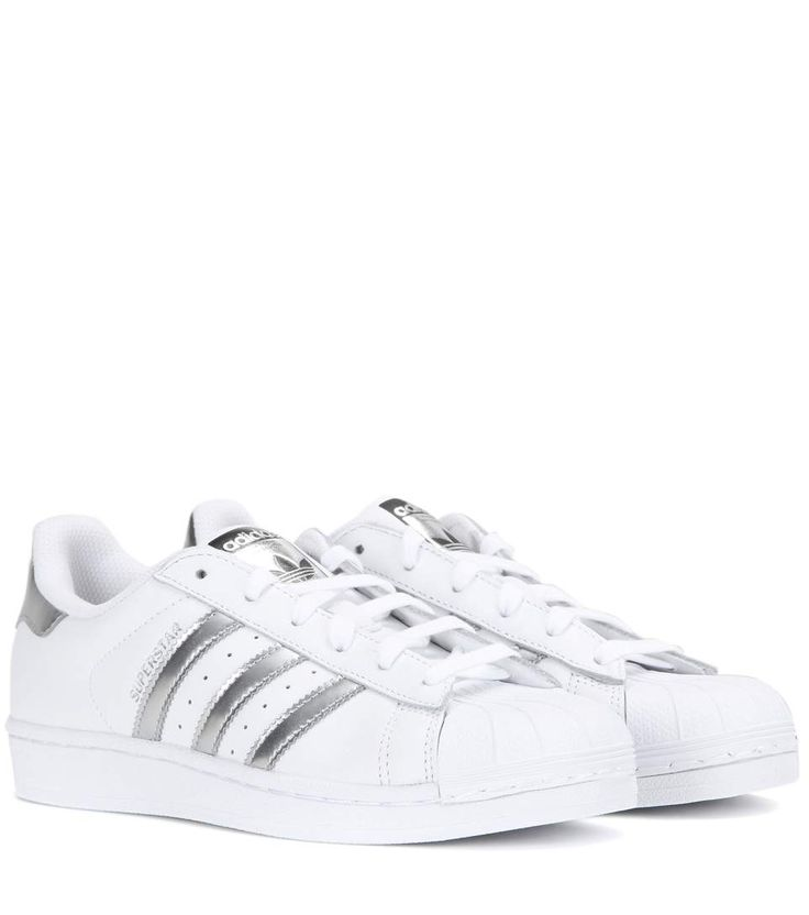 Superstar white and silver-tone leather sneakers