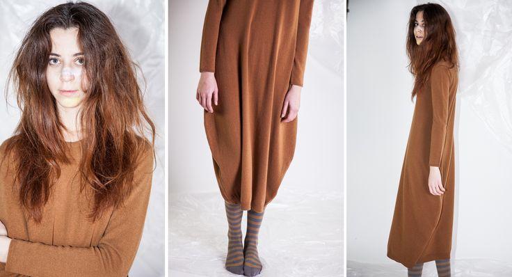 -FALL INSPIRED-  Abito #JANIS e calze a righe CUCÙ LAB - FW14/15 Shop at www.cuculab.it  #woman #winter #dress #wool #rust #fallwinter #CucuLab