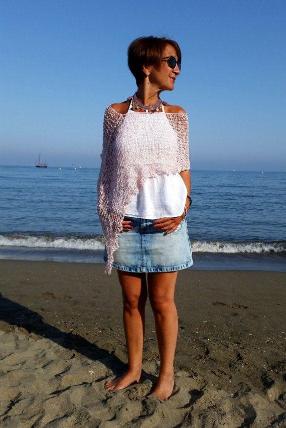 Rosa Baumwolle Poncho weiß und rosa Schal Sommer-Poncho
