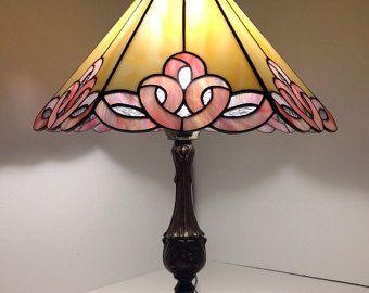 GEOMETRIC TIFFANY LAMP - pink and cream lamp - desk lamp - tiffany style - glass lamp - small lamp - gift idea - glass art work