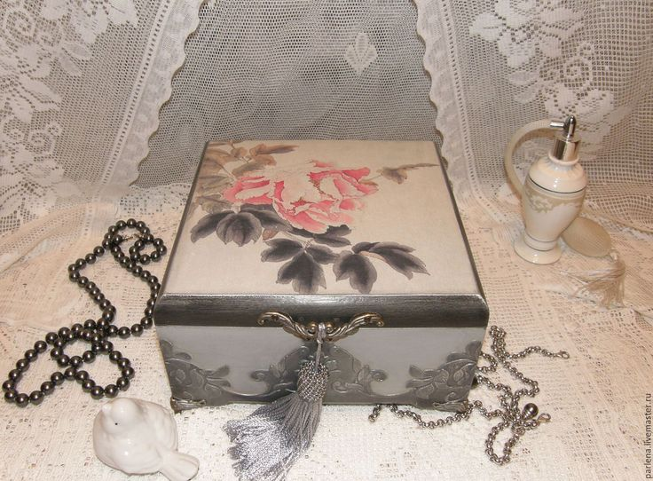 """Купить Шкатулка для украшений """"Нефритовые четки"""" - серебряный, шкатулка, шкатулка для украшений, шкатулка декупаж"""