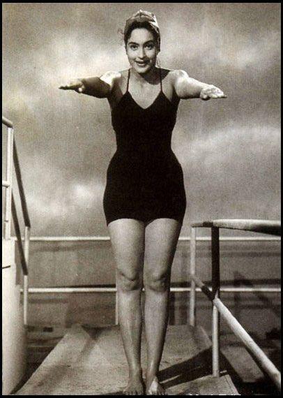 Indian-Movie-Actress-Nutan-in-Swimming-Costume---c1950's