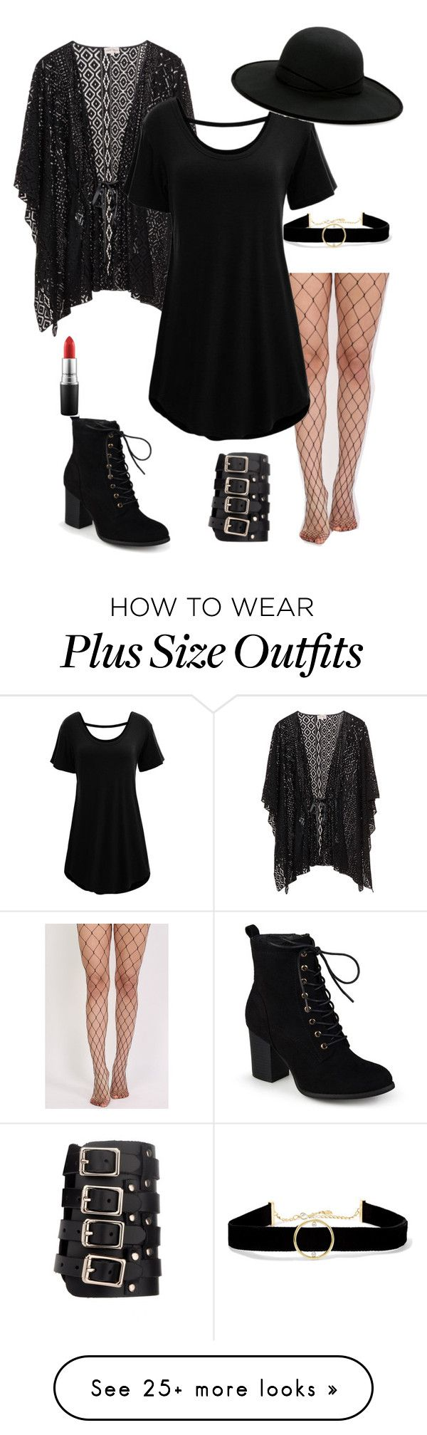 """plus sized: goth"" by violateharmon on Polyvore featuring Pilot, WithChic, Journee Collection, Betmar, Anissa Kermiche and MAC Cosmetics"