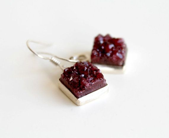 SALE 15 Ruby red druzy earrings Natural druzy quartz by GSGjewelry, $45.00