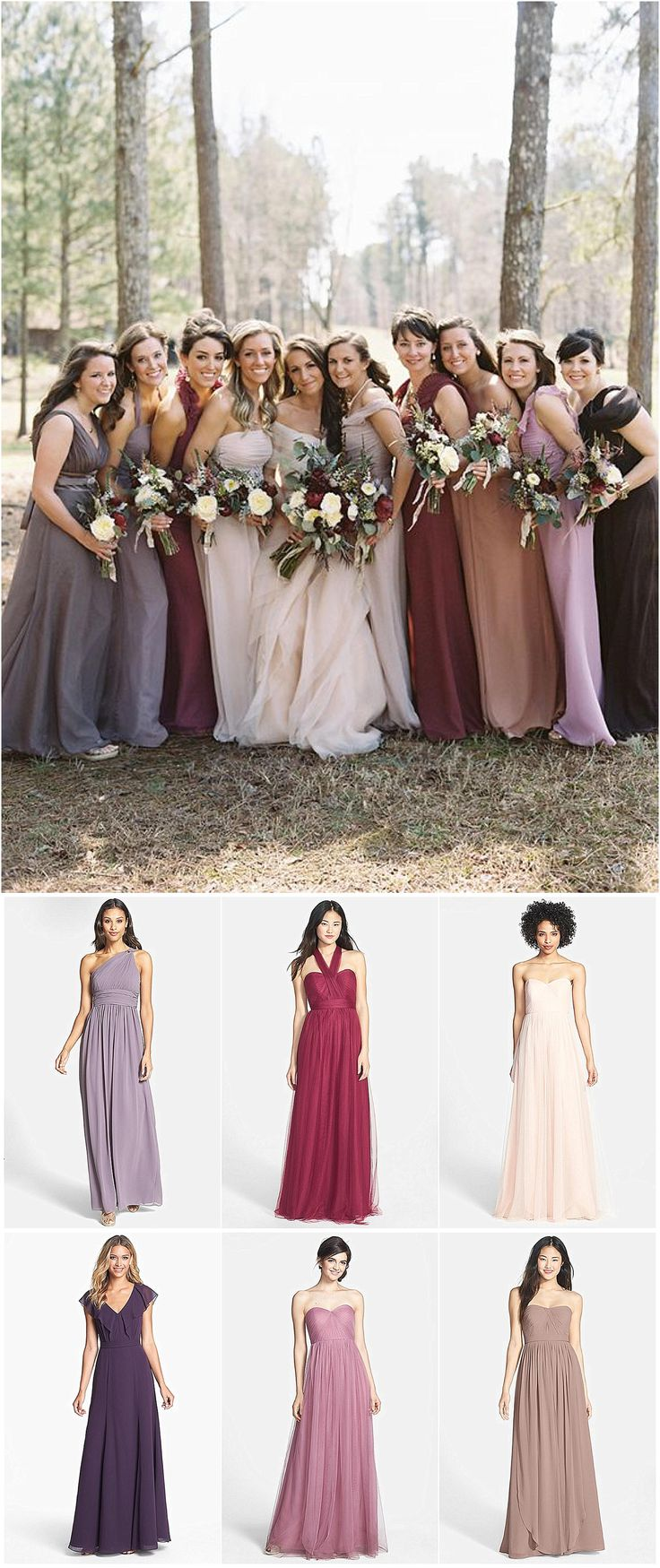 Mismatched Bridesmaid dresses ideas. This is a great idea for fall weddings!   https://www.thebridelink.com/blog/2014/08/15/mismatched-bridesmaid-dress-ideas-for-fall-weddings/