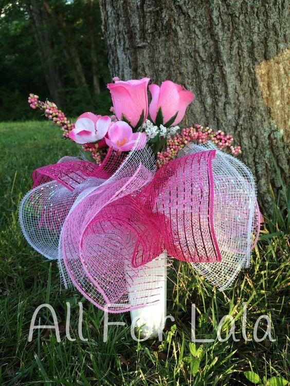 Pink Rose Cemetery Vase Arrangement with Deco Mesh Frills | Floral ...