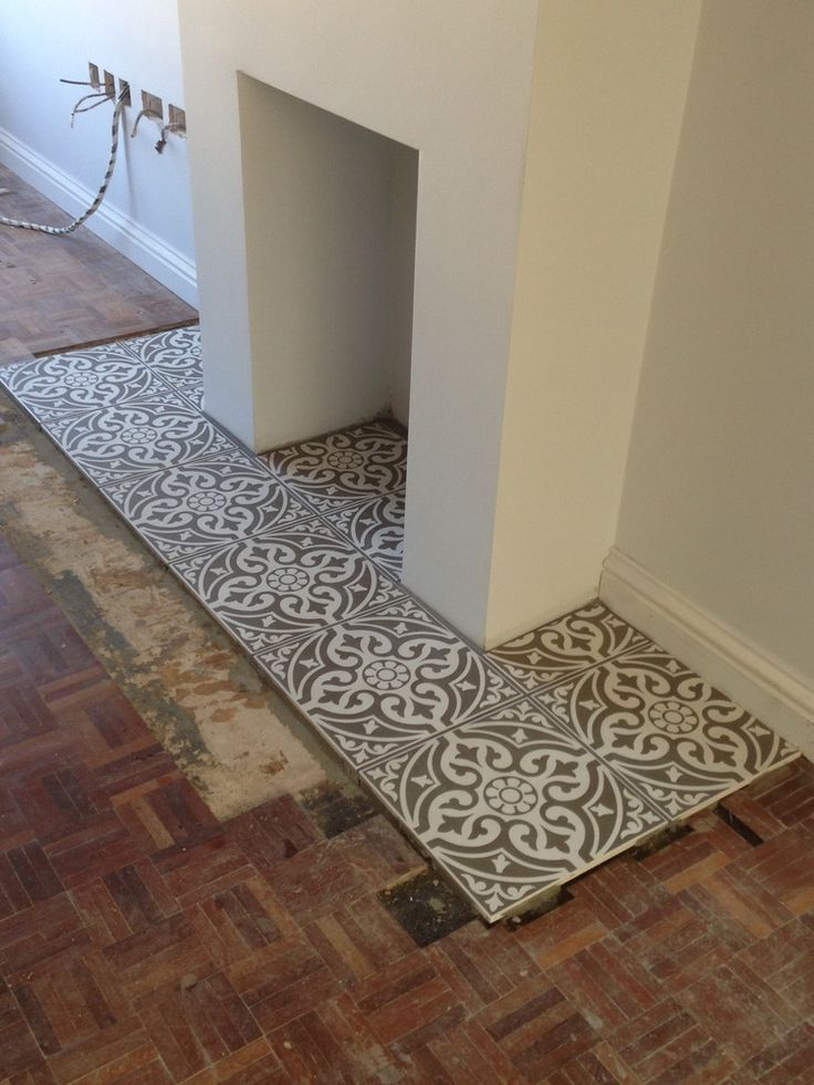 Love This Hex Tile Hearth Our Living Room Stairs Ideas