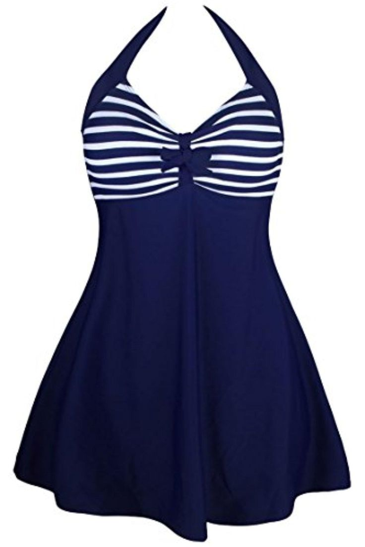 Linsery Women's Sailor One Piece Halter Skirted Swimsuit Cover Up Swimdress - Brought to you by Avarsha.com