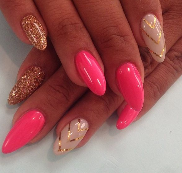 Gold and pink stiletto nail- not a fan of the nail shape but I love this hot pink!