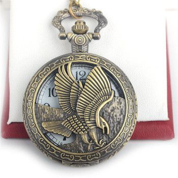 Check the time in style with this stainless steel analog pocket watch. For both men and women, this watch has the noble eagle on one side and a beautiful design on the back. Remember, your accessories