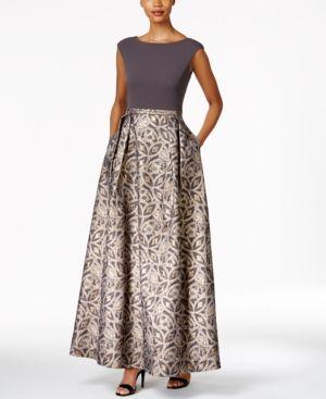 Calvin Klein Printed A-Line Gown - Silver 12