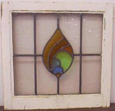 OLD ENGLISH LEADED STAINED GLASS WINDOW.