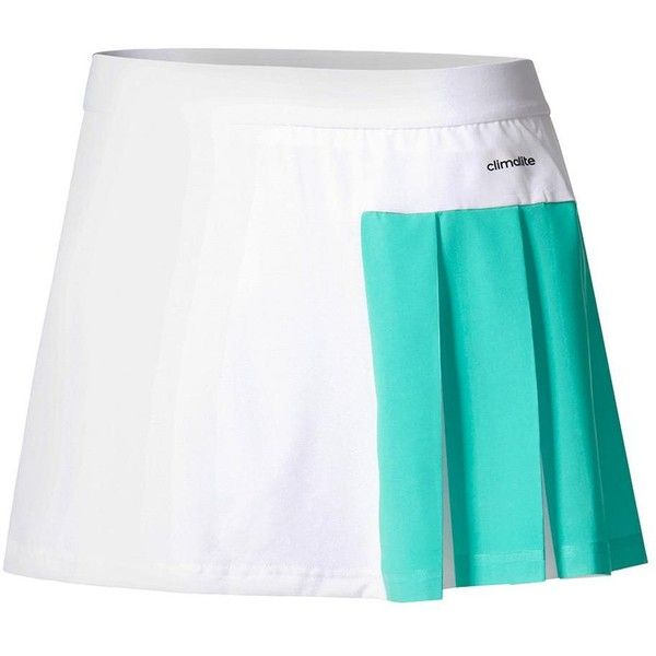 Show off at our next practice in the adidas Women's Roland Garros Tennis Skirt in White and Core Green. The elastic waistband and color-blocked asymmetrical pleats make this one of those special skirts you'll love to wear! climalite technology pulls sweat away from the skin to the outer fabric face for quick evaporation, enhancing the body's natural temperature regulation. Show off your brand loyalty with the signature three stripe adidas logo at the front, left hem!