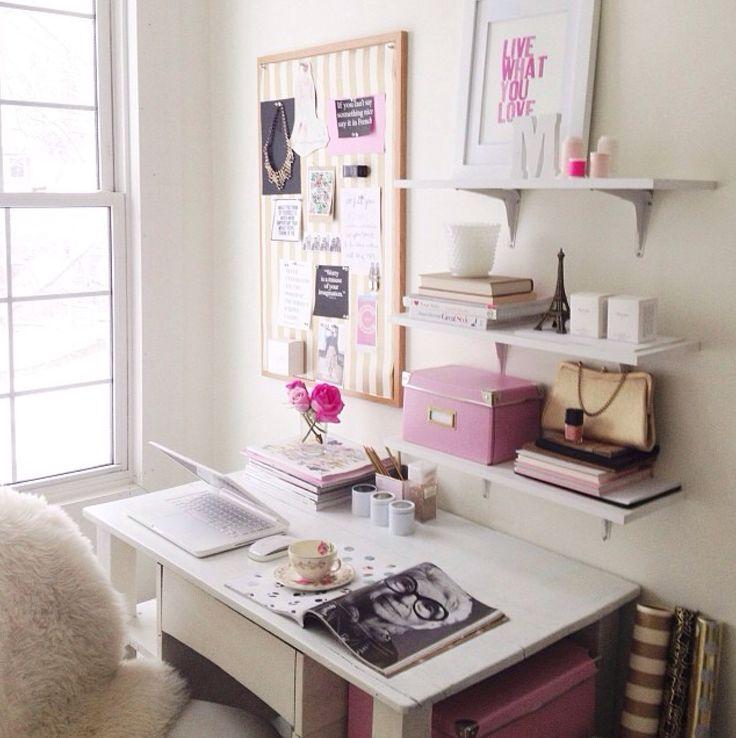 Wand über dem Schreibtisch