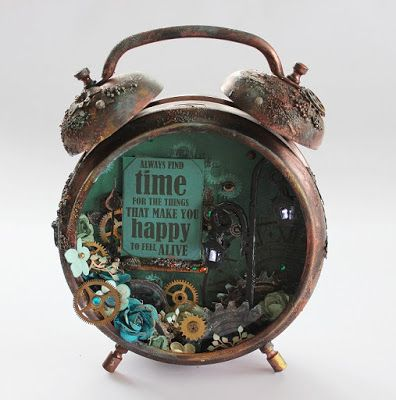 Altered clock made with the Time Machine collection from Kaisercraft. Working led lights in the lamp in the clock. Made for Kaisercraft by Kirsten Hyde.