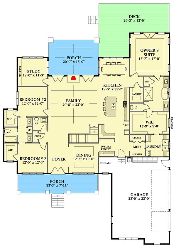 Stunning 4-Bedroom Farmhouse Home Plan with Private Study and 3-Car Garage – 46346LA floor plan – Main Level – Karen Telfer