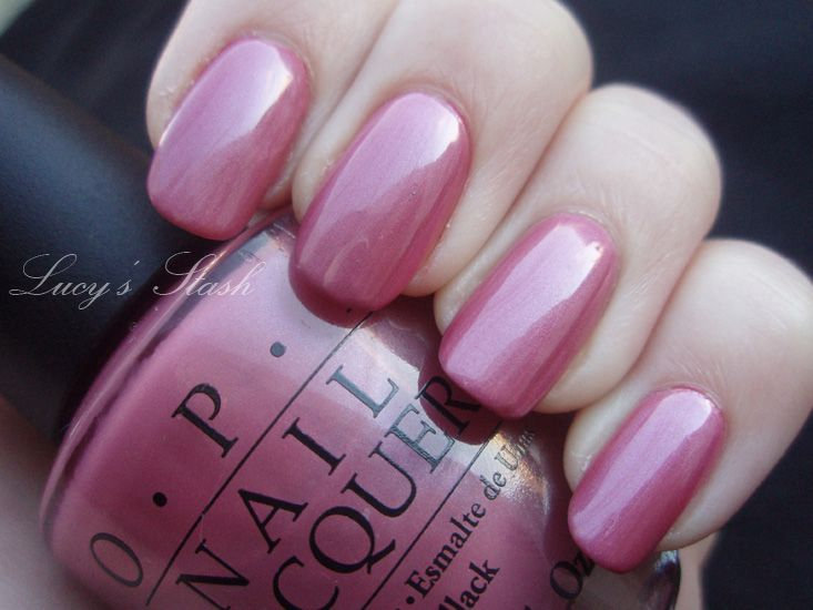 OPI not so bora bora-ing pink- kind of rose toned old-fashioned pink with pearlescent shimmer, not quite as pink as picture.