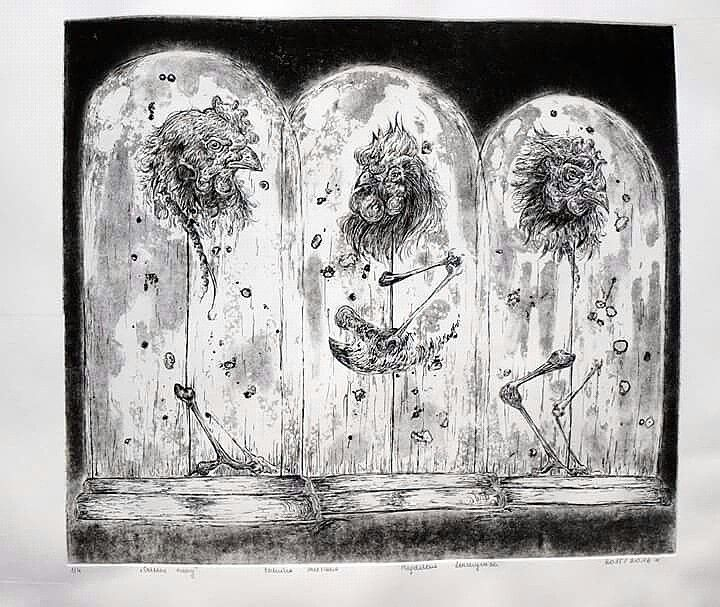 Classes project, etching, aquatint and others. Mixed media.